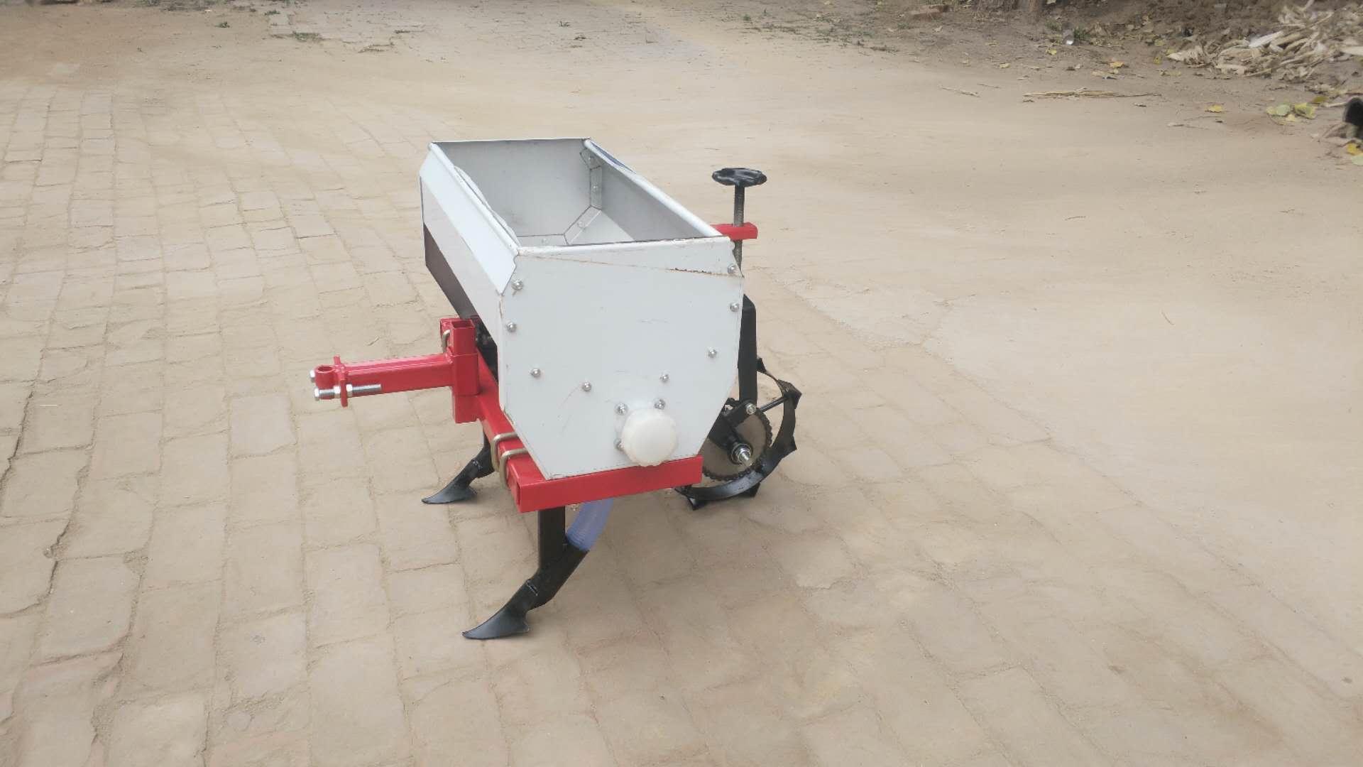 田园管理机微耕机配套两行双轮不锈钢施肥播种机